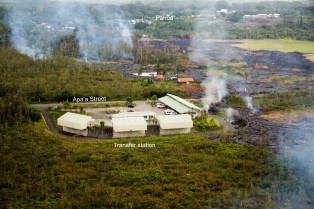 Ariel View of Pahoa's rubbish transfer station with Pahoa town in the background